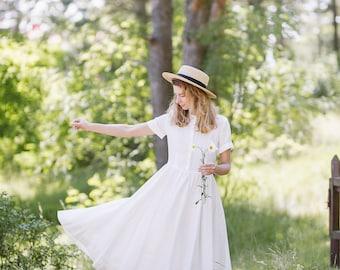 Linen Dress, Casual Wedding Dress, White Linen Dress, Linen Wedding Dress, Wedding Dress, Bohemian Dress / White Magnolia Classic Dress SS