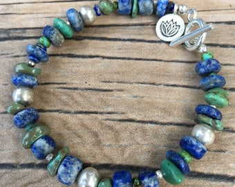 Rustic Turquoise Lapis Hill Tribe Silver Bracelet,Green Turquoise,Mat Lapis,Hill Tribe Silver,Silver Lotus Charm,Southwestern,Natural Lapis