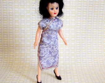 Pretty 1950s Chinese Costume Doll in a Cheongsam Dress & High Heels - Vintage Made in Hong Kong Glamorous Doll