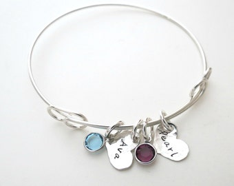 Personalized Heart Bracelet with Birthstones - Personalized Jewelry - Mothers Bracelet - Kids Name - Son - Daughter - Family - Grandma