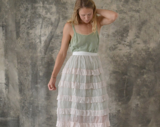 1930s Sheer Pink Tiered Linen Skirt size S