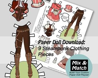 Steampunk Fashion Paper Doll- Mix & Match Digital Paper Doll Download- Printable Paper Doll Dress Set- Steampunk Costume- Dress Up Doll