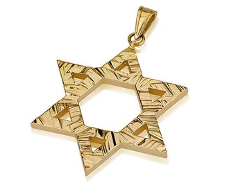 14k Gold Star of David Pendant with a unique textured finish