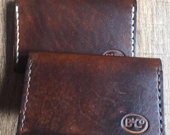Bro&Co walnut handmade bi-fild wallet /credit card holder