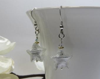 White Gold Stars Earrings, Murano Venetian Glass White Goldfoil Stars Earrings, Venetian Murano Glass Vermeil Sterling Swarovski Earrings