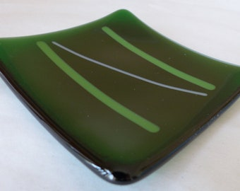 "Handmade Fused Glass Trinket Dish 4"" square"