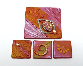 Inchie and Twinchie Tiles, Mosaic Tiles, Polymer Clay in Coral, Peach, Yellow and Pale Green, Set of 4, Handmade Jewelry Component