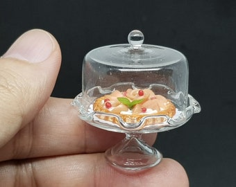 Dollhouse Miniatures Dome Bakery Cover & Stand glass and Pizza Tart