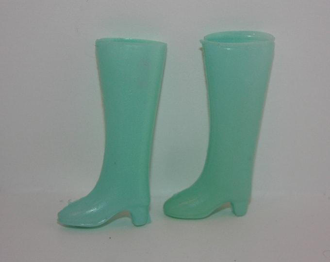 Vintage Light Blue Plastic Boots for Barbie Skipper Dolls Hong Kong