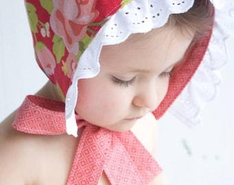 Hello Gorgeous Bonnet Set-Baby Girl Bonnet Set-Red/Pink Floral Bonnet & Diaper Cover-Ruffled Baby Bonnet/Bloomers-Riley Blake Fabrics