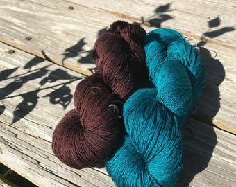 100% Mulberry Silk Lace & Sport Yarn Hand dyed Teal (Cone or Hank)