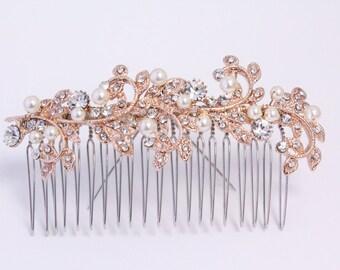 Rose Gold Comb, Bridal Hair comb, Pearl Bridal Comb, Swarovski Wedding headpiece, Bridal hair clip, Rose Gold Hair Comb,Wedding hair piece