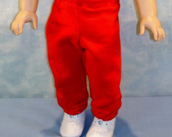 18 Inch Doll Clothes - Red Sweatpants handmade by Jane Ellen to fit 18 inch dolls