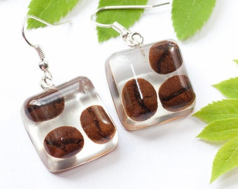 Coffee jewelry - Coffee earrings - Coffee lovers jewelry - Coffee lovers gift - Tropical earrings - I love coffee - Coffee beans jewelry