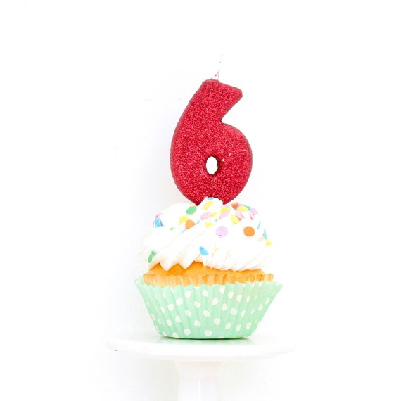 """3"""" Number 6 Candle, Giant 6 Candle, Red Candle, Red Birthday Candle, Large Red Candle, Red Party, Glitter Party Decor"""