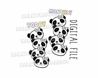 Panda Monthly/Today Bookmarks DIGITAL FILE