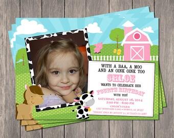 "Down On The Farm Printable Invitation   Printable 5"" x 7""   Customized   Barnyard   Farm Animals"