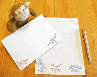 Dinosaur Stationery Set - Red & Blue - Letter Writing Paper -  Matching Envelopes - Writing Paper - Gift Present Penpal - Journal Notepaper