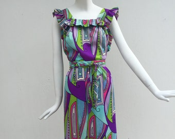 SALE Vtg 60s 70s psychedelic op art print ruffle  silk jersey dress similar to mr. Dino pucci