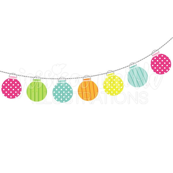 String of Party Lanterns Cute Digital Clipart Party Lights