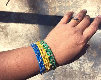 Crocheted Wrap Bracelets, Boho Bracelets, Bohemian Jewelry