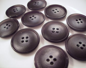 Vintage New Old Stock Matched Set of Large Plastic Black with Grayish Blue Centers Button Embellishments