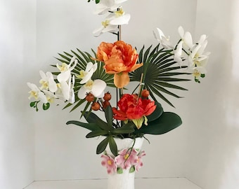 Decorative White Silk Orchids and Orange Roses with Palm Branchs and Green Foliage Floral Arrangement
