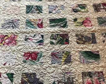 Vintage bark cloth quilt