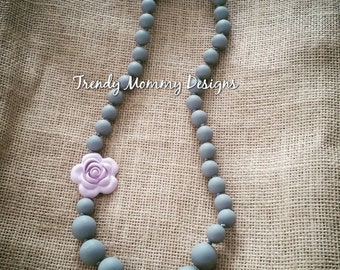 Sale! Beautiful Gray & Lavender Silicone Rose Flower Teething / Nursing Necklace for Mommy! food-grade silicone