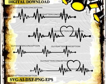 Four Heartbeat Lines Vector Image SVG Files Digital Cutting Files  Ai - Eps - PNG - DXF - Svg