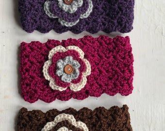 Girl's Flower EarWarmer, Headband, Handmade, Crochet, Knit like, Hair Accessory,for Baby, Toddler, Girl, Teen, Adult, Gift under 15