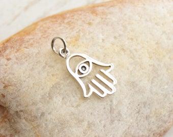 Sterling Silver Hamsa with Evil Eye Charm -- 1 Piece