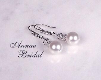"""Bridal earrings, wedding jewelry, White pearl teardrop earrings, silver, Swarovski, Bridal, wedding, modern,""""Pearl Romance"""" earrings"""