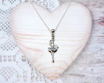 Ballerina dance dancer charm pendant chain necklace