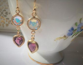 Amethyst Earrings Heart Shaped Amethyst Earrings  February Birthstone Aquarius Birthday Pisces Birthday gift idea