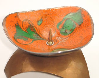 Breathtaking enamelled candlestick from the 70s