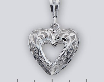 Heart Pendant (Open Center) -- 21 x 20 mm  (.83 x .79 inches*) -- Sterling Silver