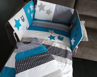 CUSTOM /DELAIS set-10 days bumper and sleeping bag blue clear/white/gray duck starry polka dots