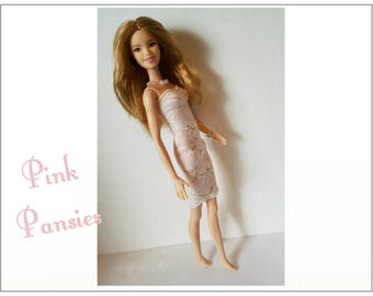 TALL Barbie Fashionistas Doll Clothes - PINK PANSIES Lace Dress and Jewelry - Handmade Fashion by dolls4emma