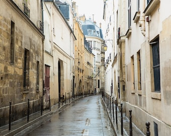 Paris in the Rain Photography Print - Paris Street Scene - Paris Art Print - Neutral Wall Decor - Paris Wall Art