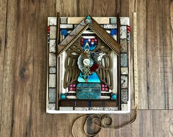 Sanctuary, Assemblage Art, Altered Art, Nature, Birdbath, 3D Art, Collage, Mosaic Art