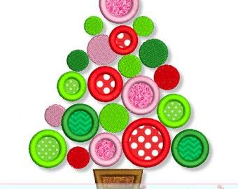 POLKA Dot Christmas TREE Applique 4x4 5x7 6x10 7x11  Machine Embroidery Design  INSTANT Download