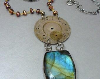 Steampunk Necklace, Clock, Statement Necklace, Sterling Silver Necklace, Handmade Necklace, Labradorite Necklace, Artisan Jewelry, Steampunk