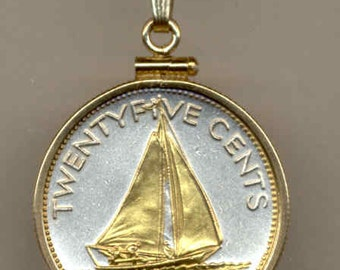 "Necklace - Gorgeous 2-Toned ""Gold on Silver"" Bahamas ""Sail boat"",  Coin Necklaces"