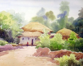 Morning Rural Village -Original Watercolor Painting on Paper