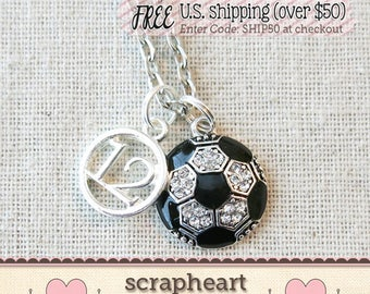 Senior Night SOCCER Necklace, SOCCER Player Number Charm Necklace, Soccer Mom Necklace, Soccer Ball Charm Jewelry, Varsity Soccer Gifts