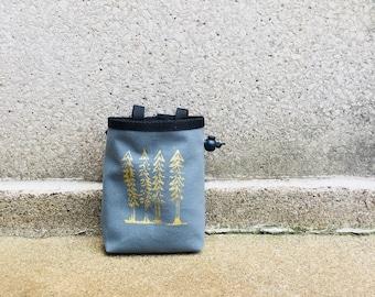 chalk bag, rock climbing chalk bag, linoprint, handcarved, screenprint, rock climbing chalk bag..1-3day order