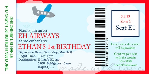 Items similar to airplane boarding pass birthday invitation items similar to airplane boarding pass birthday invitation personalized and printable 4x8 on etsy filmwisefo