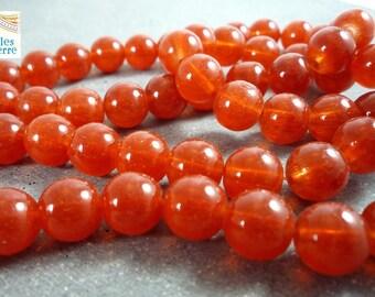 20 round beads, brick red glass, 10mm (pv127)