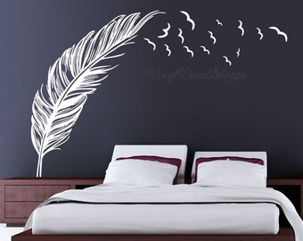 Birds flying From Feather Decal, Bird Feather Decal, Feather Wall Decal, Feather Decal, Bird and Feather, Large Wall Decal, Feather and Bird